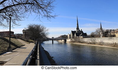Timelapse of the Grand River in Cambridge, Ontario - A...
