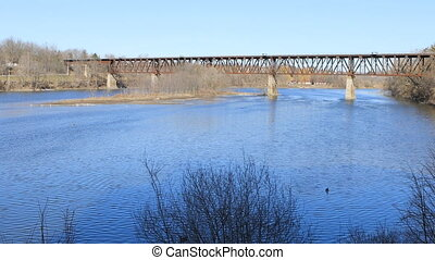 Railway bridge over the Grand River in Cambridge, Canada - A...