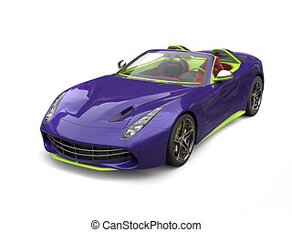 Carzy purple and green sports car - studio shot