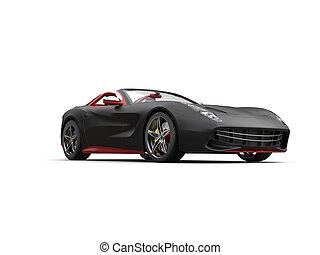 Matte black futuristic sports car - studio shot