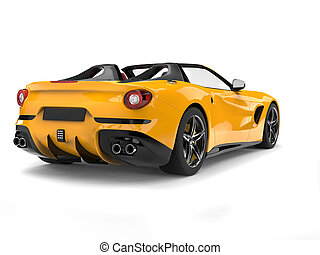 Bright yellow cabrio sports car - back view
