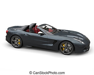 Dark grey ultra fast sports car - top down studio shot