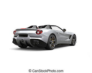 Luxury sports car with silver paintjob - back view studio...