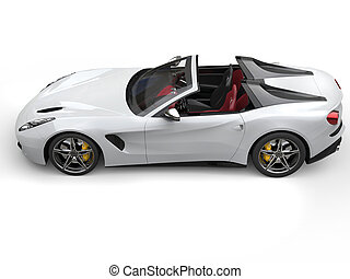 Smooth white cutting edge sports car - top down view