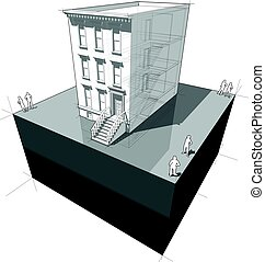 townhouse diagram - diagram of a typical american townhouse