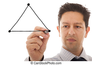 Triangle balance - businessman drawing a diagram with the...