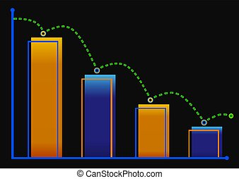 Decreasing bar graph with green arrow . Isometric bar graph with two axes and columns, showing the rapid decline on a black background . Eps 10 vector illustration