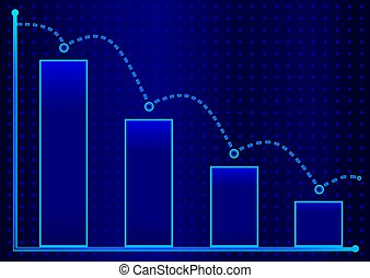Decreasing bar graph with blue arrow . Isometric bar graph with two axes and columns, showing the rapid decline on a blue background . Eps 10 vector illustration