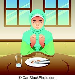 Muslim Woman Praying After Eating