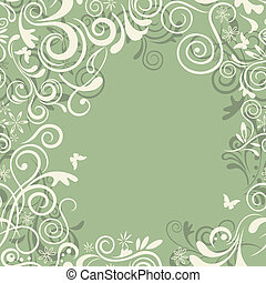 Abstract seamless green floral fram