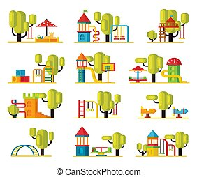 Colorful Playground Elements Collection - Colorful...