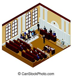 Isometric Judicial System Concept - Isometric judicial...
