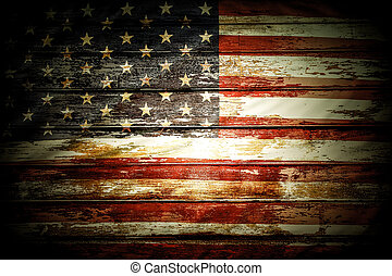 American flag - Closeup of American flag on boards