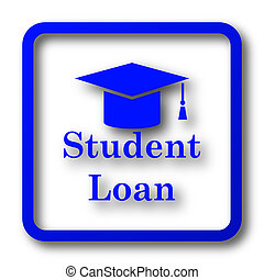 Student loan icon. Student loan website button on white...