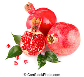 pomegranate fresh fruits with green leaves isolated on white...