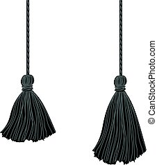 Vector Set of Two Black Hanging Decorative Tassels With Ropes. Great for graduation cards, invitations, hats, mockups, grad party designs.