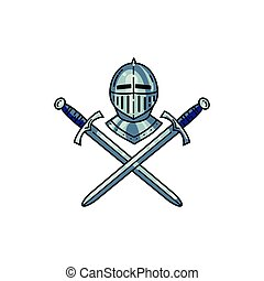 Helmet and crossed swords isolated on white. Vector emblem.