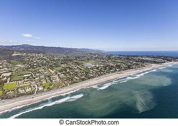 Zumz Beach Shoreline Aerial Malibu California - Aerial view...