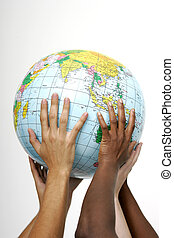 Hands holding up a globe, on white