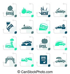 Stylized car and transportation insurance and risk icons -...