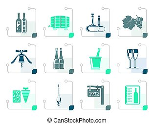 Stylized Wine and drink Icons