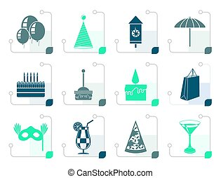 Stylized Party and holidays icons