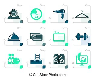 Stylized hotel and motel amenity icons  - vector icon set