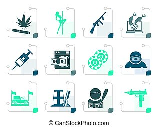 Stylized mafia and organized criminality activity icons