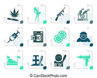 Stylized mafia and organized criminality activity icons -...