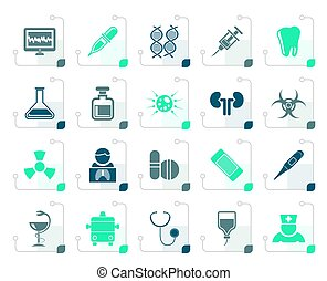 Stylized Healthcare, Medicine and hospital icons - vector...