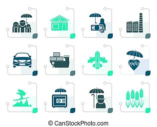 Stylized different kind of insurance and risk icons