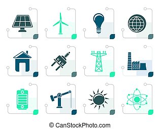 Stylized power, energy and electricity icons - vector icon...