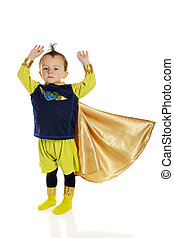 Ready for Takeoff - A serious preschool superhero, arms...
