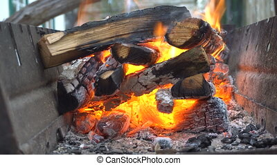 Firewood is burning in the grill. Handheld shooting
