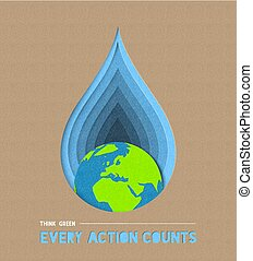 Earth day water conservation paper cut art - Earth day paper...