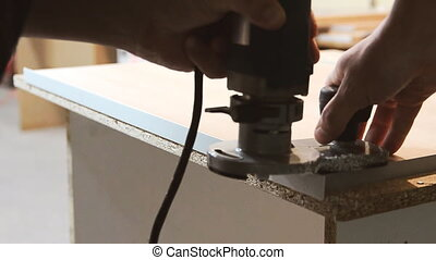 Processing furniture part edge - edging furniture hinges...