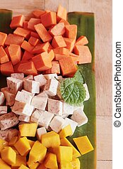 Pumpkin, Taro, Carrot cut for cooking