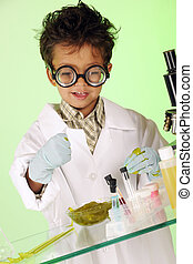 Grabbing the Goo - A tiny young mad scientist in a lab coat,...