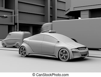 Clay model rendering of cars - Clay model rendering of taxi,...