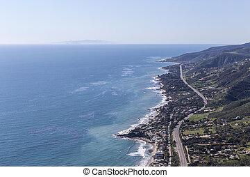 Pacific Coast Highway North Malibu California - Aerial view...