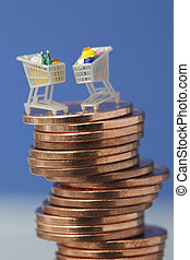 Miniature shopping carts on top of