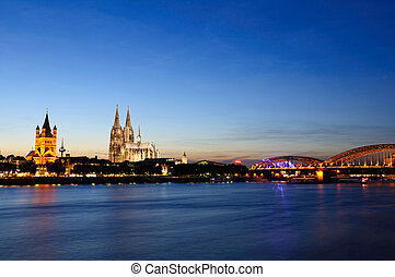 Cologne, Germany - Cologne in the twilight in september,2010