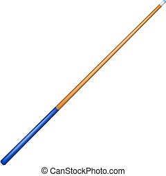 Billiard cue with blue handle on white background