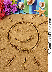 Hawaiian beach scene with smiling sun - Smiling sun drawn on...