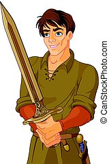 Young Medieval Man Holding a Sword - Illustration of young...