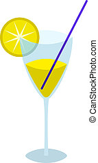Glass with a yellow drink - Transparent glass with a lemon,...