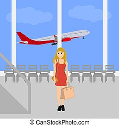 Woman at the International Airport