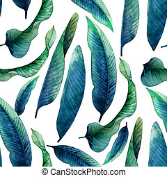 Watercolor heliconia leaves pattern - Watercolor heliconia...