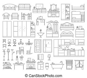 Set of house interior furniture. - Vector icons set of house...