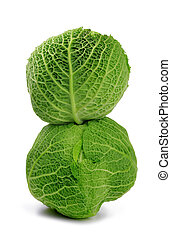 Savoy cabbage isolated on a white background.